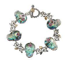 Barbara Bixby Sterling/18K Skull Doublet 7-1/4 Toggle Bracelet