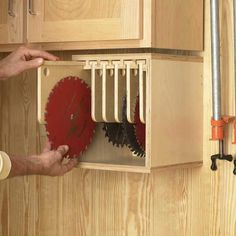 Tablesaw Blade Locker Woodworking Plan, Workshop & Jigs Shop Cabinets, Storage, & Organizers