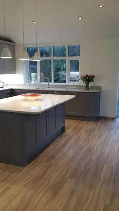 Kitchen units painted in Farrow and Ball Moles breath on base units and Purbeck stone at the top. Kitchen Diner Extension, Open Plan Kitchen Diner, Open Plan Kitchen Living Room, Kitchen Family Rooms, Home Decor Kitchen, New Kitchen, Kitchen Units, Kitchen Cabinets, Grey Cupboards
