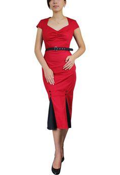 Red 1940s Plus-Size Vintage Pencil Dress $39.95  More at: http://www.vintagedancer.com/1940s/1940s-plus-size-dresses/