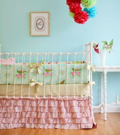 Crazily Over Priced!!! This could be hand sewn for much less, but I LOVE the idea! Sweet Birdie Ruffles Custom Crib Bedding Set by LottieDaBaby, $450.00