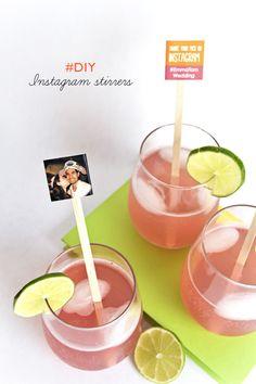 DIY Instagram Stirrers - Awesome Escort Card Idea