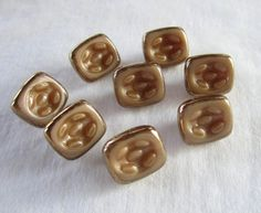 8 Czech Tan Glass Buttons  1/2 rectangle  by JanesVintageToo, $9.00