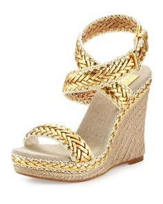 Gorgeous Tory Burch braided wedge sandals