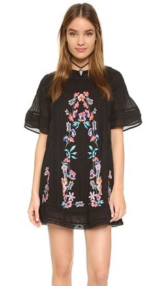 Free People Perfectly Victorian Embroidered Mini Dress A Victorian-inspired Free People mini dress with embroidered floral accents. Outfit Designer, Mara Hoffman, Rachel Zoe, Marchesa, Diane Von Furstenberg, Capsule Wardrobe, Alice Olivia, Rebecca Minkoff, Back To School Outfits