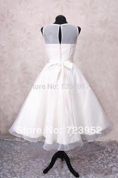 Горячая распродажа бато шеи смотрите через топ органза простой длина жаклин винтаж свадебное платье с коротким купить на AliExpress