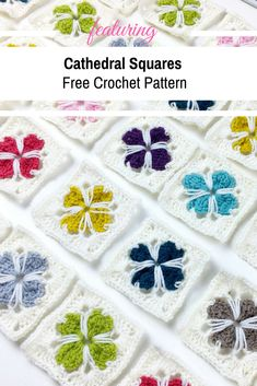 [Video Tutorial] How To Crochet Cathedral Squares - Knit And Crochet Daily Crochet Motifs, Crochet Quilt, Granny Square Crochet Pattern, Crochet Geek, Learn To Crochet, Crochet Squares, Crochet Crafts, Free Crochet, Crochet Stitches