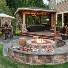 Fire pit w/seatwalls & pizza oven - Wheeler - Paradise Restored | Portland, OR | www.paradiserestored.com
