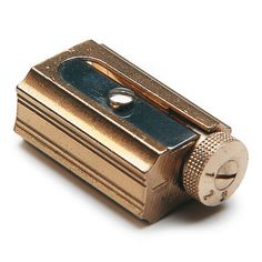 The sharpener weighs 34 g, is 3 cm long, cm wide, cm high and is made of brass. It comes in a leather case. - Dux Brass Precison Sharpener at Manufactum Stationery Pens, Pencil Sharpener, Coloured Pencils, Mechanical Pencils, Pen And Paper, Writing Instruments, Leather Case, Brass, Tools