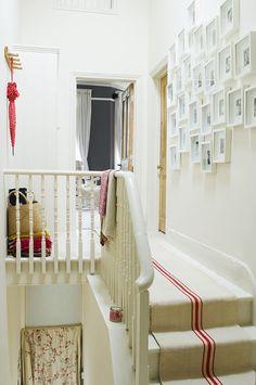 Vintage hungarian linen grain sack stair runner, sourced from Beyond France. 'Whiting' matt emulsion, Little Greene Paint Co. Wall Carpet, Carpet Stairs, Marco Ikea, Ikea Frames, Backdrop Design, Interior Decorating, Interior Design, Interior Ideas, Grain Sack
