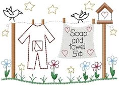 Soap And Towel 5 Cents Sampler - 5x7   Primitive   Machine Embroidery Designs   SWAKembroidery.com HeartStrings Embroidery