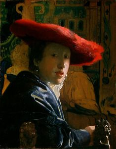 Girl with a Red Hat  (Meisje met de rode hoed )  c. 1665-1667 oil on panel 9 1/8 x 7 1/8 in. (23.2 x 18.1 cm.) The National Gallery of Art, Washington D.C. Andrew W. Mellon Collection