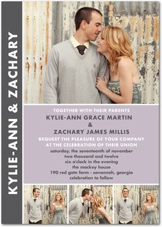 Signature White Wedding Invitations Chic Couple... Maybe use these as save the dates and the thank you cards?