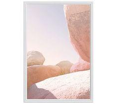 "Joshua Tree Rocks #1 Framed Print by Jane Wilder, 28 x 42"", Ridged Distressed Frame, White, No Mat"