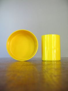 Vintage Mod Yellow Heller Plastic Bowl / Cup  Massimo by luola