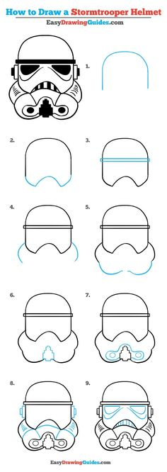 Learn to draw a stormtrooper helmet. This step-by-step tutorial makes it easy. Kids and beginners alike can now draw a great looking stormtrooper helmet. to drawing step by step How to Draw a Stormtrooper Helmet – Really Easy Drawing Tutorial Easy Drawing Tutorial, Easy Drawing Steps, Star Wars Drawings, Doodle Drawings, Cartoon Drawings, Star Wars Helm, Star Wars Art, Step By Step Sketches, Step By Step Drawing