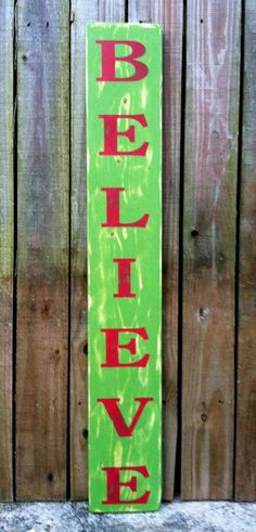 Christmas Sign  BELIEVE  Hand Painted and by ExpressionsWallArt, $29.00