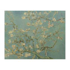 #Almond #Blossoms by Vincent Van Gogh Fine #Art #Reproductions on #Wood Panel . #vangogh #art #painting #fineart #postimpressionism #impressionism #print #prints #almonds #flowers #flower #blue