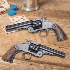 """GUN OF THE DAY – Smith & Wesson Schofield Revolver.This week's NRA Gun Gurus presented by Henry Repeating Arms episode, """"Guns of the Old West,"""" features today's GOTD. This Smith & Wesson came on the frontier scene shortly after the Colt Single Action Army, but left its mark in the West. The Second Model Schofield single action revolver, was like the Colt, in .45 caliber, but utilized a shorter metallic cartridge. From 1876 to 1877 almost 6,000 Second Model Schofields were produced."""