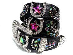 Cowgirl Rhinestone Black Leather Ladies Horseshoe Western Bling Belt