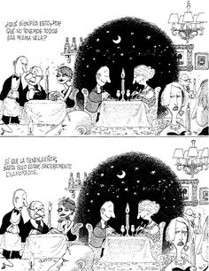 From QUINO. Traduction from spanish - What means this? Why do not have all the same candle? - Yes, You do sir. All you have to be is genuinely in love Humor Grafico, Comic Strips, True Stories, Illusions, Illustrators, Images, Good Things, Movie Posters, Cartoons