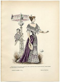 L'Art et la Mode 1891 N°12 Marie de Solar, hand colored fashion plate, Dinner Dress, Jésurum
