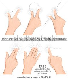 Vector set of commonly used multi-touch gestures for tablets or smart phone by ivelly, via Shutterstock