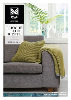 Lovely knitted pillow and blanket in brioche stitch Knit Pillow, Knitted Blankets, Home Crafts, Love Seat, Knitting Patterns, My Design, Sweet Home, Couch, Throw Pillows