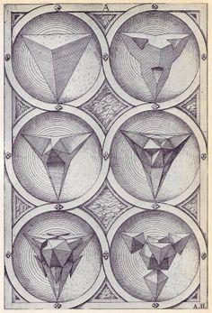 LOUISA CHAMBERS: Perspective of the Regular SolidsWenzel Jamnitzer (1508-1585), nació en Viena, hijo de un orfebre, Hans Jamnitzer, que más tarde se trasladó con su familia a la ciudad alemana de Nuremberg. Fue orfebre, diseñador e inventor, escribió una obra titulada Perspectiva Corporum Regularium publicada en 1568.
