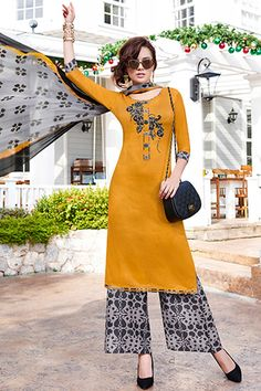 Mustard #yellow #cotton printed straight cut lovely #kameez with palazzo -SL4971