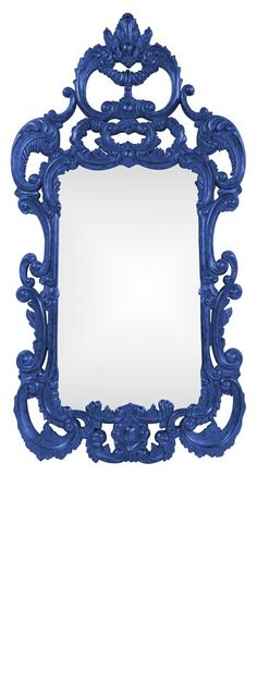 """Wall Mirrors, Grand 72"""" Tall Baroque Mirrors, Royal Blue High Gloss Lacquer, so elegant, inspire your friends and followers interested in luxury interior design & gifts with more beautiful accents like this from InStyle Decor Beverly Hills, Luxury Designer Furniture, Mirrors, Lighting, Art, Accents & Gifts, over 3,500 inspirations to choose from and share with our simple one click Pinterest Pin button enjoy & happy pinning"""