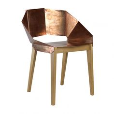 """Židle """"Brenda"""", 38 x 60 x 72 cm Wooden Leg, Solid Wood Dining Chairs, Copper Color, Steel, Furniture, Design, Home Decor, Bedroom, Copper"""