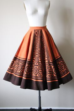 50s Skirt - Vintage 1950s Mexican Circle Skirt - Pumpkin Chocolate Hand Painted…