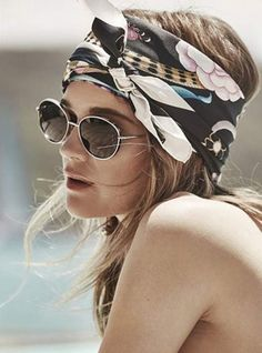 Beach Fun And Summer Looks 2018 Picture Description Rosie Tupper, scarf Bobby Pin Hairstyles, Bandana Hairstyles, Cute Hairstyles, Summer Hairstyles, Hairstyles With Headbands, Fashion Headbands, Easy Hairstyle, Turban Headbands, Natural Hairstyles