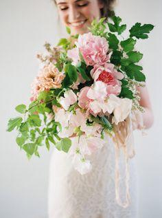 Stunning Garden Inspired Bouquet with Blush Peonies | Heather Hawkins Photography | http://heyweddinglady.com/floral-romance-blush-peonies-spring-wedding/