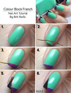 Brit Nails: Colour Block French Tutorial | Turquoise, black and purple nails | Nail Art | Nail design | Geometric nails | Polishes