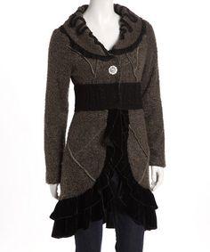 Moss Green Velvet-Trim Coat by Love Token Green Velvet, Toddler Girl, Ruffles, Cardigans, Sweaters, Vogue, My Style, Lady, Coat