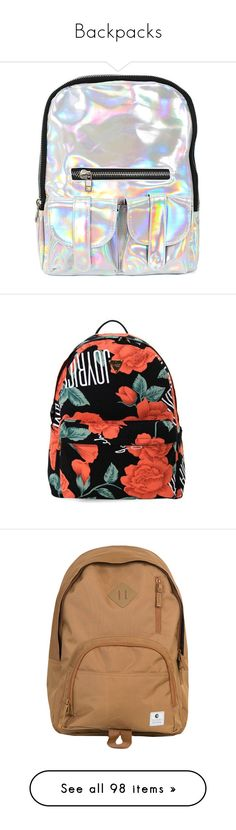 """""""Backpacks"""" by cocainaaron ❤ liked on Polyvore featuring bags, backpacks, accessories, pink, logo backpack, mesh bag, day pack rucksack, day pack backpack, purple backpack and daypack bag"""