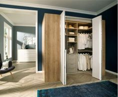 Short on space? Why not add some Hettich bi-fold doors to your wardrobe? Click on the pin to find out more. #bedroomstorage #wardrobedesign