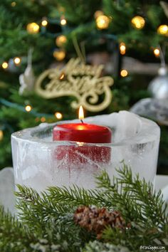 Ice Luminary: Step-by-step tutorial on making a simple, beautiful ice luminary that costs next to nothing to create. {BitznGiggles.com} #Ice, #luminary, #Christmas, #New Years, #candle
