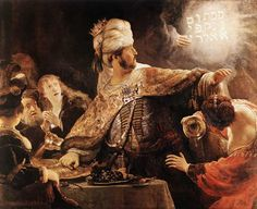 Rembrandt, Belshazzar's Feast , 1635 66 x in. Rembrandt van Rijn was the greatest master of the Dutch Golden Age, an. Caravaggio, Renoir, Rembrandt Paintings, Rembrandt Art, Art Occidental, Catholic Memes, National Gallery, Dutch Golden Age, Biblical Art