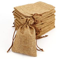20 x Mini Hessian Burlap Favor Bags Wedding Rustic Burlap Bag