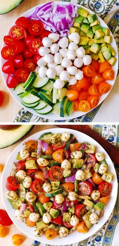 Avocado Salad with Tomatoes, Mozzarella, and Basil Pesto, cucumbers, red onions, red cherry tomatoes, yellow cherry tomatoes #healthy