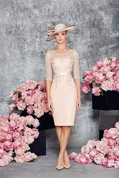 Fenghuavip Elegant Round Collar Light Pink Mid Long Bridal Mother Dress 2Pcs: Amazon.ca: Clothing & Accessories
