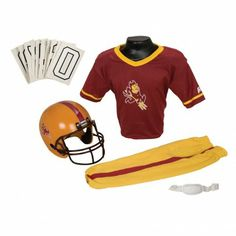 College Football Deluxe Uniform Set - Arizona State - Pass along the college football tradition to your young fan with this official College Football Deluxe Uniform Set. Included is an official team jersey, team helmet with authentic logo and team colors, and team pants that will have them looking ready to take the field. The set also includes iron-on numbers (0-9) for the back of the jersey. - See more at: http://franklinsports.com/shop/college-deluxe-uniform-set