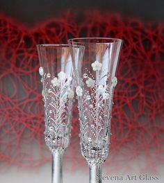 Wedding Champagne Glasses Flute Toasting Hand by NevenaArtGlass