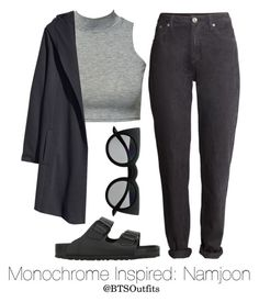 """Monochrome Inspired: Namjoon"" by btsoutfits ❤ liked on Polyvore featuring Club L, H&M, Birkenstock and Retrò"