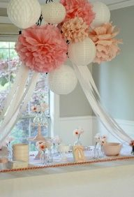 Beautiful! Chandelier out of paper materials- Did this for one of my best friends bridal shower and it was such a hit and really made the dessert table pop!