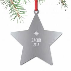 Engraved Name and Date Star Tree Decoration