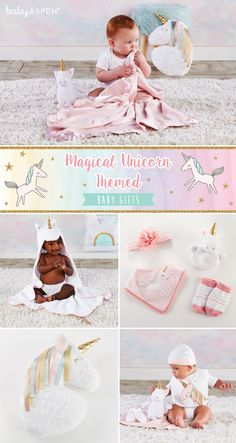 Magical Unicorn Themed Baby Gifts | Simply Enchanted Collection | Baby Aspen | Your little one will love snuggling after a bath in our unicorn spa robe, playing with our unicorn plush plus friend, and wearing her favorite pink unicorn accessories. Baby Aspen, Unicorn Pillow, Rainbow Ribbon, Unicorn Outfit, Pink Blanket, Magical Unicorn, Welcome Baby, Easy Gifts, Knitted Blankets